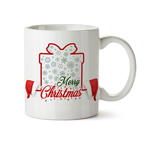 Merry Christmas in a Gift Box with Santa Hats Porcelain Coffee Mug -11 oz- Best Holiday Gifts (Halloween Blu Ray Box Set Australia)