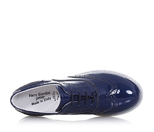 NERO GIARDINI - Blauer Halbschuh mit Schnürsenkeln aus Lackleder, made in Italy, Lochmuster, auf der Sohle, Mädchen, Damen-34