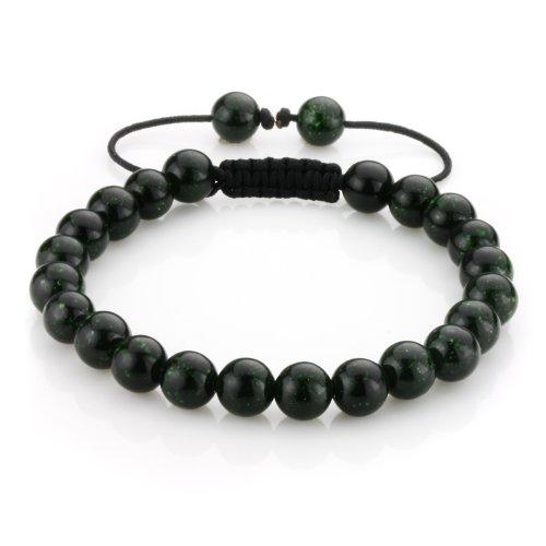 8mm Birthstone Gem Semi Preciouse Gemstones Round Bead Beaded Bracelet, Handmade Macrame Adjustable