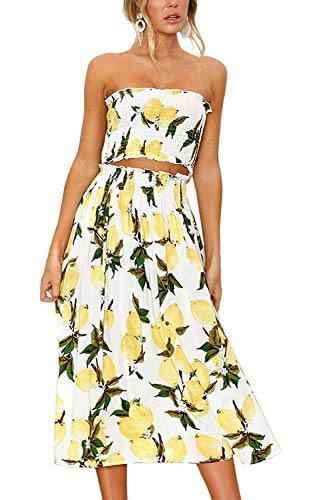 Women Summer 2 Piece Outfit Floral Bandeau Crop Top with Maxi Skirt Set Size S(US 4) (Lemon)