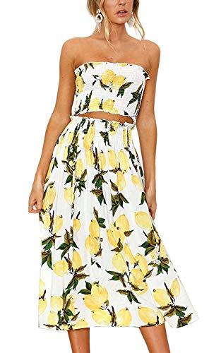 58fb769860c Women Summer 2 Piece Outfit Floral Bandeau Crop Top with Maxi Skirt Set  Size M (US 6) (Lemon)