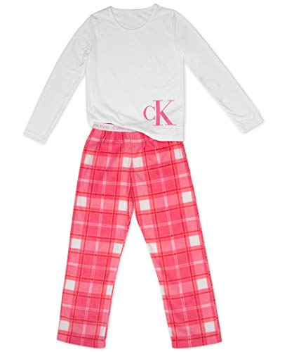 Calvin Klein Big Girls' 2 Piece Sleepwear Top and Bottom Pajama Set Pj, Long Sleeve - White, CK Nora Plaid, Medium-7/8