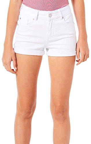Indigo Rein Juniors High Rise Roll Cuff Denim Shorts 5 White ()