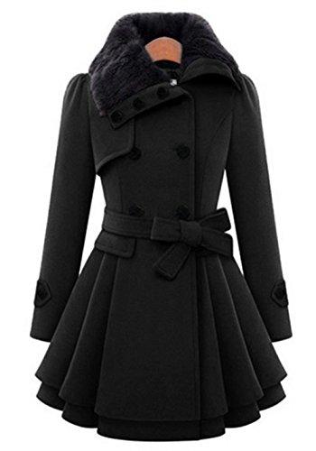 YOSICIL Femme Mi-Long Manteau Laine Parkas Double Boutonnage Trench-Coat Veste paise avec Ourlet Asymtrique Coat Manteaux Chaud Automne Hiver Gabardine Coupe Cintre Outwear Noir
