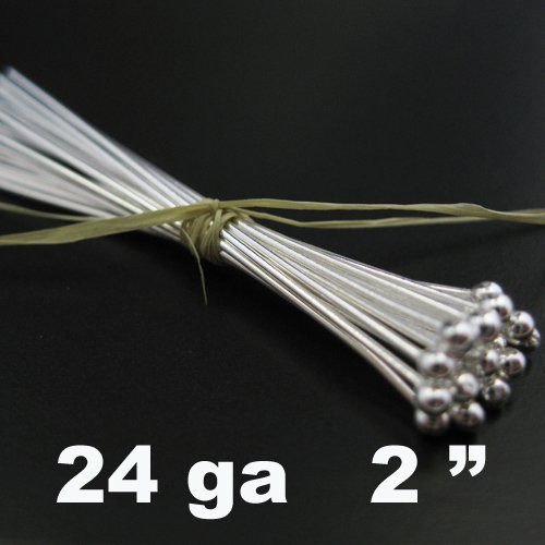 Sterling Silver Ball End Head Pins - 24 Gauge and 2 Inch Long (25 Pieces) BeadUnion 204113