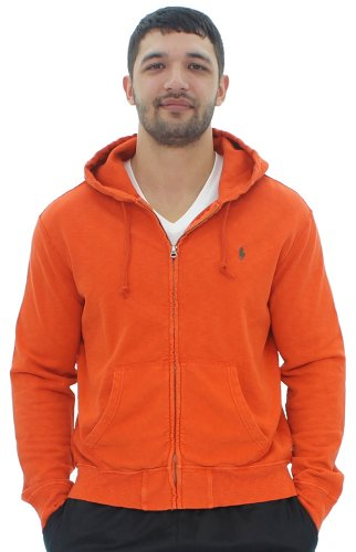 Polo Ralph Lauren Men's Lightweight Vintage French Terry Hoodie (Large, Collage Orange) by Polo Ralph Lauren