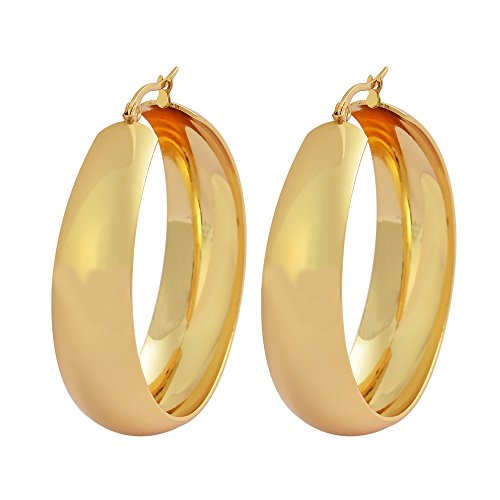 Edforce Women's 18k Gold Plated Rounded Thick Hoop Earrings, (Thick Gold Plated)