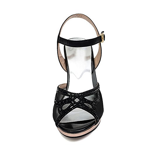 AgooLar Women's Peep Toe High Heels Buckle Solid Sandals Black i6JQ9