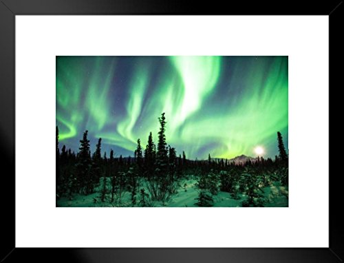 Northern Lights or Aurora Borealis Alaska Photo Art Print Matted Framed Wall Art 26x20 -