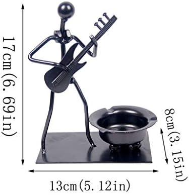 灰皿 , ホームデコレーションクラフトオーナメント灰皿、鉄材小型エレキギターモデルクリエイティブ灰皿 (色 : 黒)