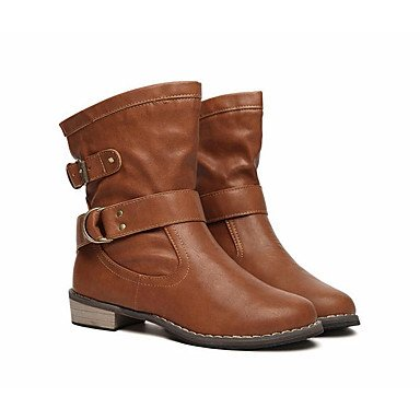 pwne Botas De Mujeres Pu Confort Casual De Resorte Plano Negro Marrón US6.5-7 / EU37 / UK4.5-5 / CN37