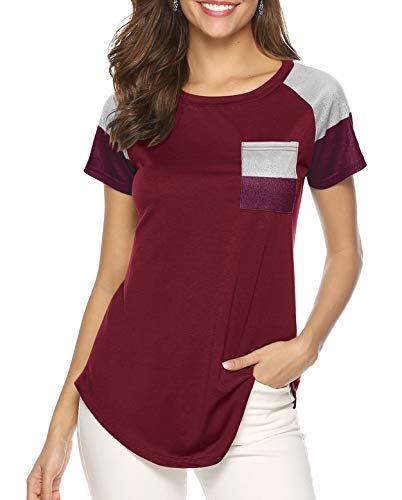 Weilim Women's Casual Color Patchwork Short Sleeve Pullover Tunic Sweatshirt Tops Red L