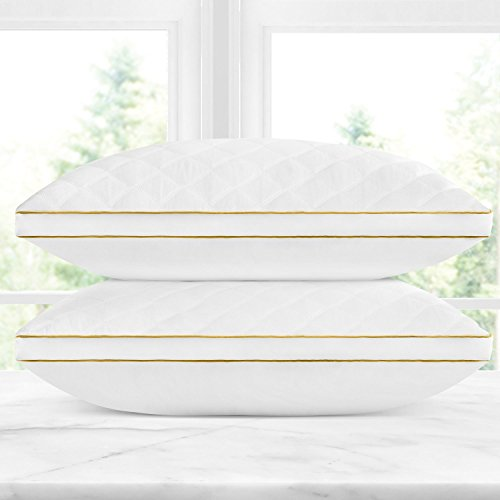 Italian Luxury Quilted Pillow (2-Pack) - Hotel Quality Plush Gel Fiber Filled Pillow with a quilted cover and sateen piping - Hypoallergenic & Dust Mite Resistant - Queen