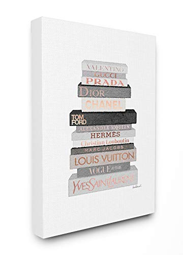 The Stupell Home Decor Neutral Grey and Rose Gold Fashion Bookstack Stretched Canvas Wall Art, 16 x 20, Multi-Color