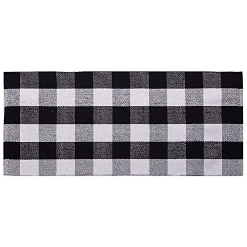 Ukeler Black and White Plaid Rugs Cotton Hand-Woven Buffalo Checkered Carpet Washable Kitchen Rugs and Mat, ()