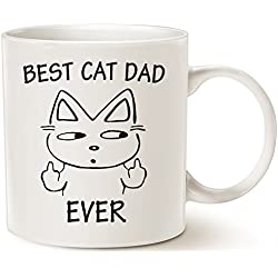Funny Cat Dad Coffee Mug for Cat Lovers - Best Cat Dad Ever with Middle Finger - Best Cute Christmas Gifts for Dad Porcelain Cup White, 14 Oz by LaTazas