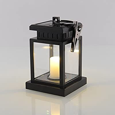Solar Candle Lantern With Flickering Effect, Traditional Solar Powered Led Candle Lamp Hanging Lantern Waterproof For Festival Garden Decoration Amber