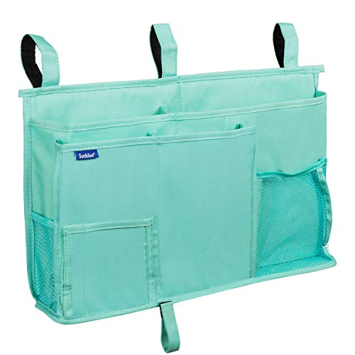 Surblue Caddy Hanging Organizer Bedside Storage Bag for Bunk and Hospital Beds, Dorm Rooms Bed Rails(8 Pockets),Green