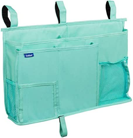 Surblue Caddy Hanging Organizer Bedside Storage Bag for Bunk and Hospital Beds, Dorm Rooms Bed Rails(8 Pockets) (Green)