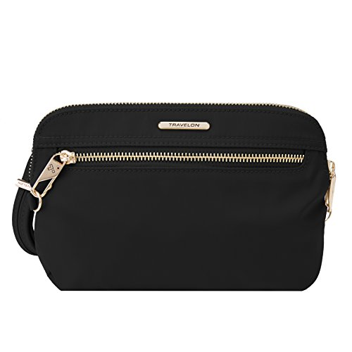 Travelon Women's Anti-Theft Tailored Convertible Crossbody Clutch Cross Body Bag, Onyx, One Size