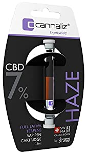 Cannaliz Swiss Hemp Vape Cartridge ´HAZE´ 7% (56mg) from Organic Hemp Flower Extract Vape Pen E-Liquid Cartridge - 0.8ml