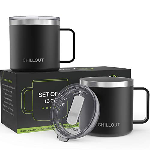 16 oz Stainless steel Vacuum Insulated Coffee Mug with Handle and Lid, (Set of 2) Large Thermal Camping Coffee Mugs with Sliding Lid for Men & Women - Keeps your Beverages Hot/Cold for a Long Time