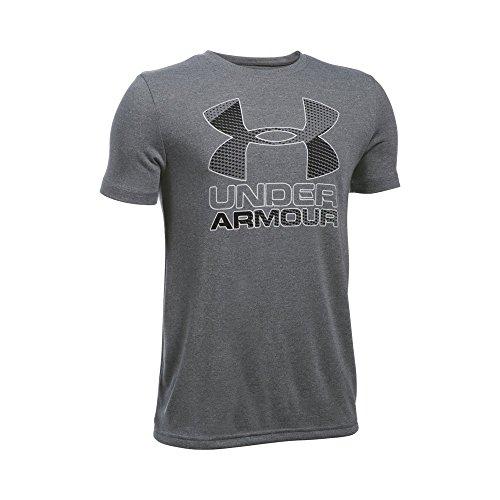 Under Armour Boys' Hybrid Big Logo T-Shirt, Graphite/Black, Youth Medium - Under Armour Gray Shirt