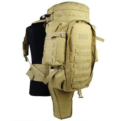 Military Tactical Backpack Bag W/ Rifle Holder Hiking Trekking Camping Daily EDC
