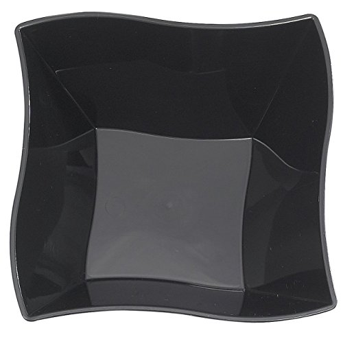 Kaya Collection - Disposable Black Plastic Wave 14oz Soup/Condiment Bowls - 2 Pack (20 (Kitchen Collection Plastic Bowls)