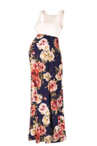 Beachcoco Women's Maternity Sleeveless Maxi Empire Waist Flower Printed Tank Dress (M, Navy2 flower)