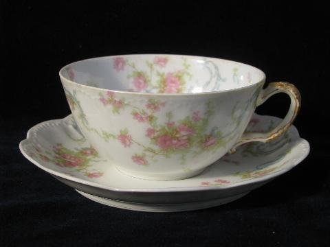 Pink Rose Fine Porcelain - Antique Haviland & Co. Limoges France Fine Porcelain China Pink Wild Roses Tea Cup and Saucer with Scalloped Edges
