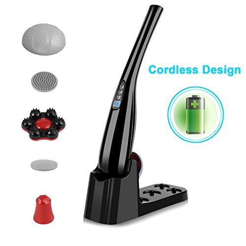 Guisee Handheld Massager Cordless Massager Percussion Deep Tissue Electric Massager For Back Neck Shoulder Body Pain Relief – 9 Modes & 9 Speeds – Long-lasting (Black)