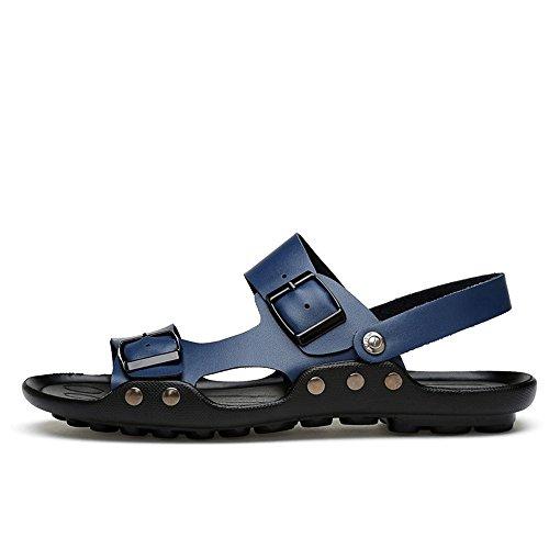 Vamp Mens coulisse vera pelle shoes in da uomo fibbia da e regolabile da Sandalo fibbia Blu Sandalo con cinturino 2018 con spiaggia e sera 6FwqxddfH