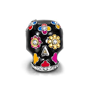 "NinaQueen""Skull and Rose"" 925 Sterling Silver Sunflower Charms Multicolor Enamel Charm Beads, Best Halloween Gifts for Women"