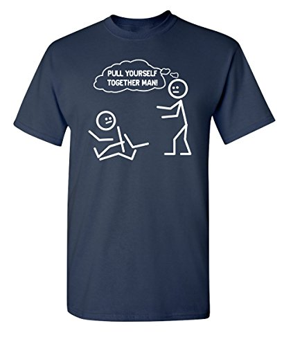 Feelin Good Tees Pull Yourself Together Man! Funny Stick Figure Tee XL Navy (Navy Pull)