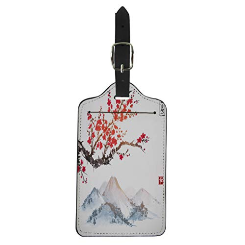 (Pinbeam Luggage Tag Sakura in Blossom and Mountains Traditional Oriental Ink Suitcase Baggage Label)