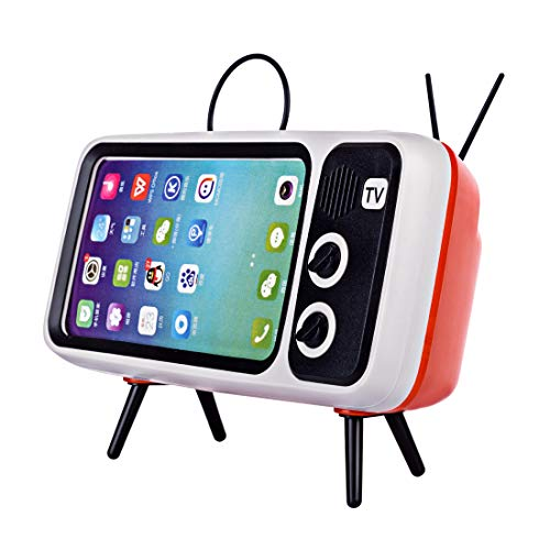 Goshfun PTH800 Retro TV Shape Mobile Phone Holder, Table Cell Phone Accessories, Desktop Mobile Phone Stand for Phones with 4.7-5.5 Inch Screen, Orange