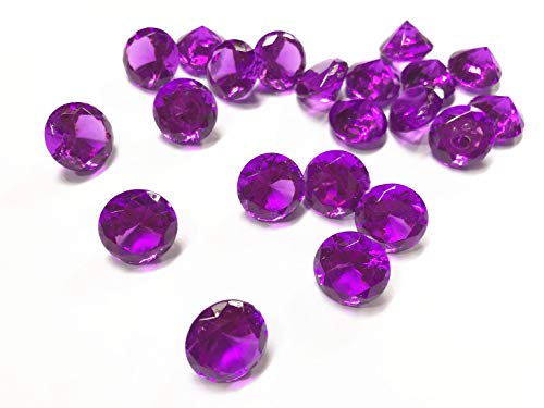 Gem 20mm - Briliant Shop 20mm Acrylic Color Faux Round Diamond Crystals Treasure Gems for Table Scatters, Vase Fillers, Event, Wedding, Arts & Crafts (100 pcs Purple)