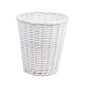 white bathroom basket wicker willow basket white storage bin waste paper 15046
