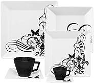 1 Aparelho De Jantar/chá/cafezinho 42 Peças Quartier Tattoo - Gm42-2414 Oxford Branco/preto