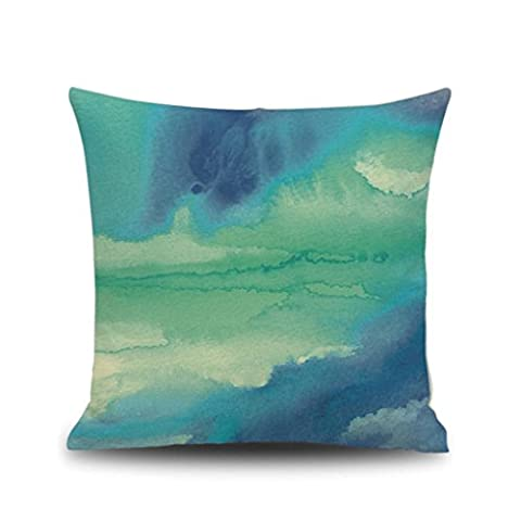 Highpot Beautiful Fresh Watercolor Painting Linen Cushion Cover Throw Pillow Case New Home Office Indoor Decorative Square 18 X 18 Inches - Flax Color