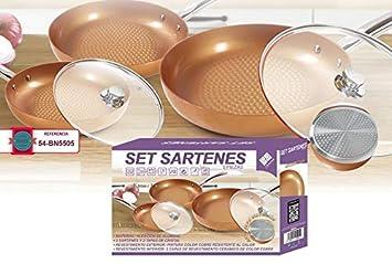 Set de 3 sartenes + 2 tapas de cristal con revestimiento cerámico: Amazon.es: Hogar
