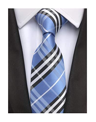 (Elfeves Men's Modern Tartan Checks Plaid Style Formal Ties Woven Pattern Necktie (One Size, Blue black))