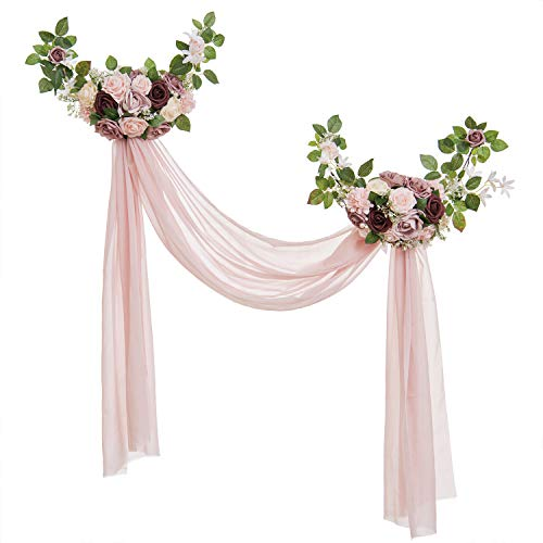 Ling's moment Delicate Dusty Rose Style Artificial Rose Flower Swags and Garlands with Dusty Pink Sheer Swags (Pack of 2) for Wedding Arch Wall Door Decorations