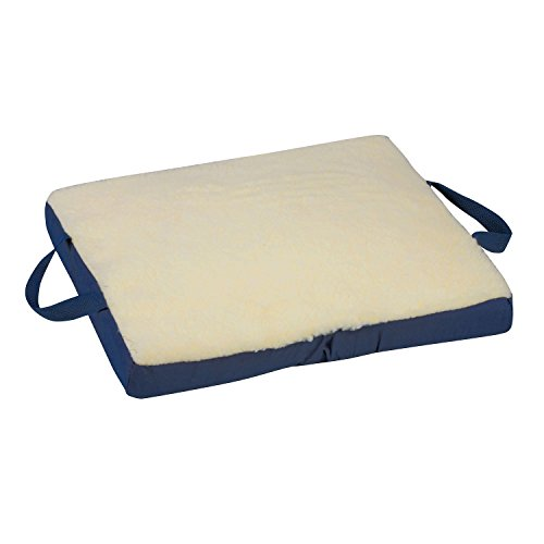 DMI Reversible Gel Foam Comfort Seat Cushion for Soft and Firm Support on Standard Chairs, Office Chairs and Wheelchairs, Removable Fleece Cover, 16 x 18 x 2 Inches, Cream