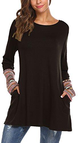 Women's Long Sleeve Knitted Cotton Patchwork Lightweight Sweatshirt Tunic Tops (M, 2 Black)