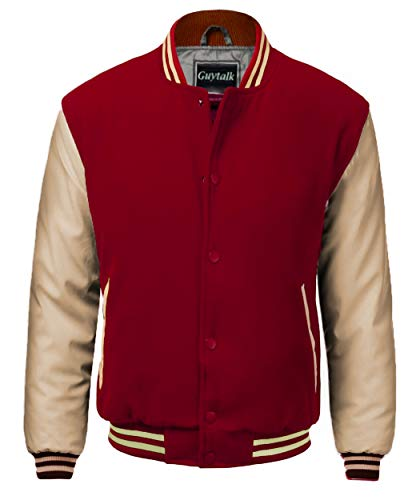 (Guytalk Men's Letterman Style Premium Thick Fabric Varsity Baseball Jacket Small BURGUNDYKHAKI)
