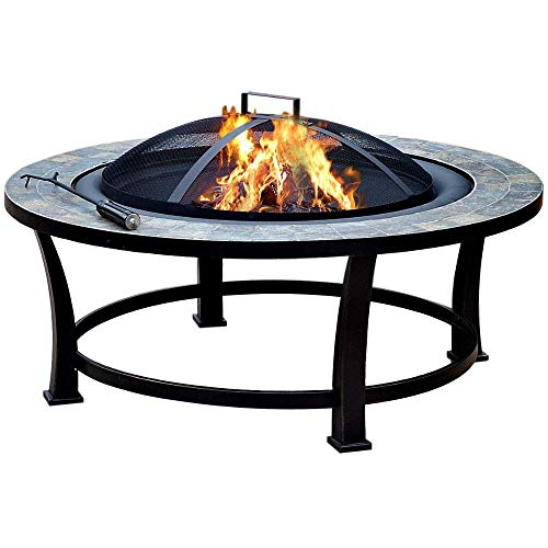 Wood Burning Fire Pit Outdoor Firebowl Round with Decorative Stone Mosaic Patio Fire Pit Fire Tool Fire Screen Cast Iron Fire Pit Fireplace BBQ Patio Campfire Backyard Fireplace & eBook by BADA Shop