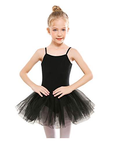 STELLE Girls' Camisole Tutu Dress for Dance, Gymnastics&Ballet (Toddler/Little Kids/Big Kids) (L, Black) from STELLE