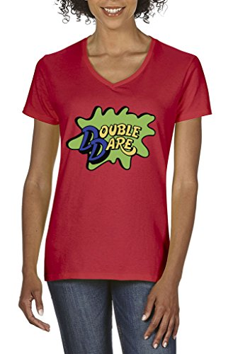 Double Dare Red Women's V-NECK T-Shirt ADULT (Family Double Dare Costume)